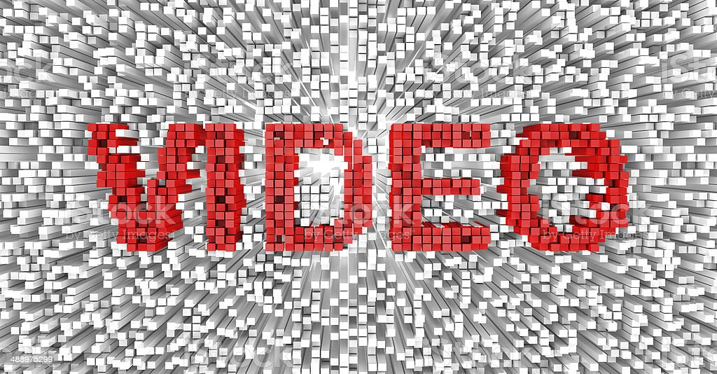 Video Text on Cubes stock photo