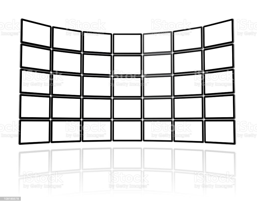 Video wall made of flat tv screens stock photo