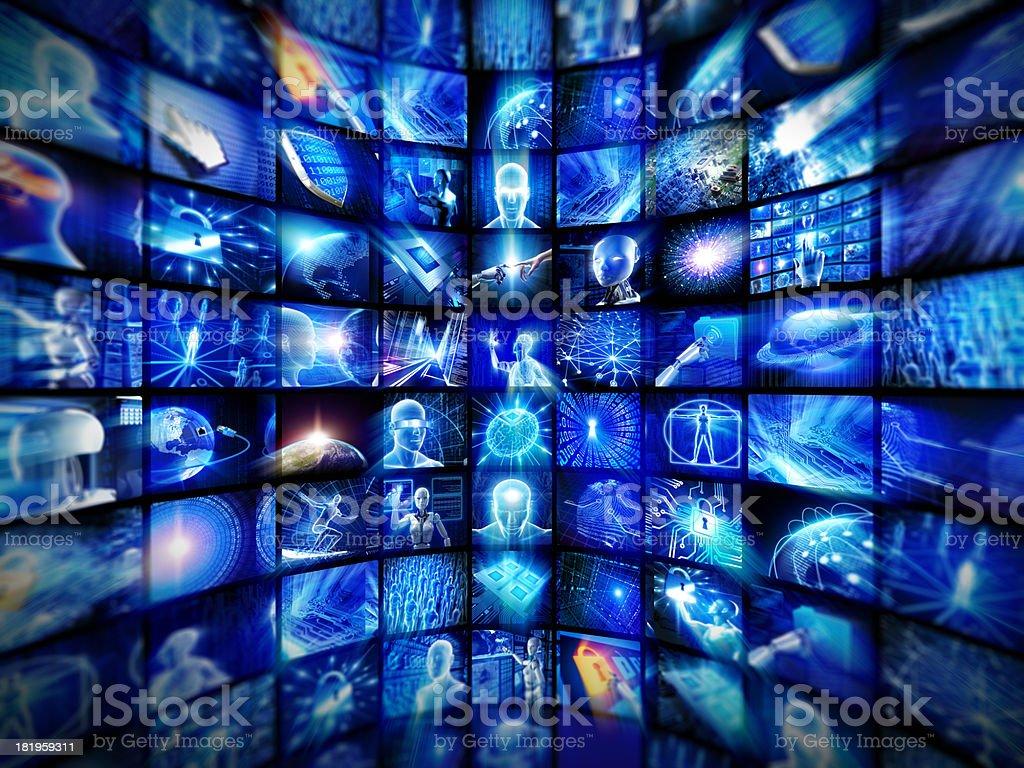 Video wall of hi-tech screens royalty-free stock photo