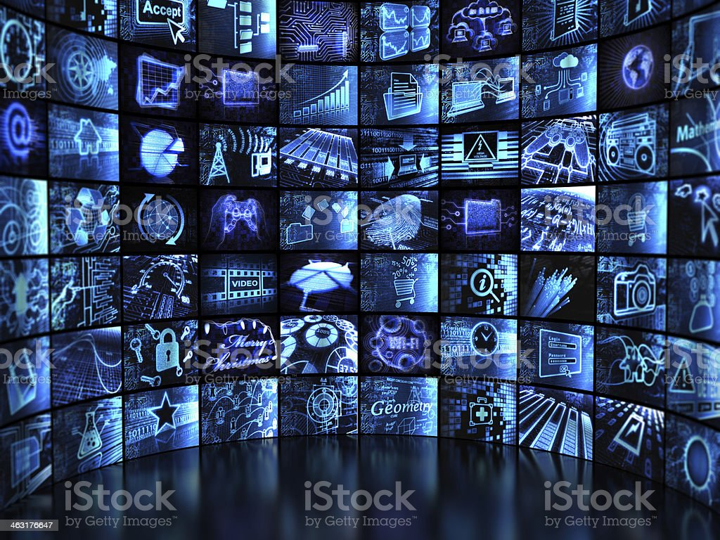 Video wall of screens royalty-free stock photo