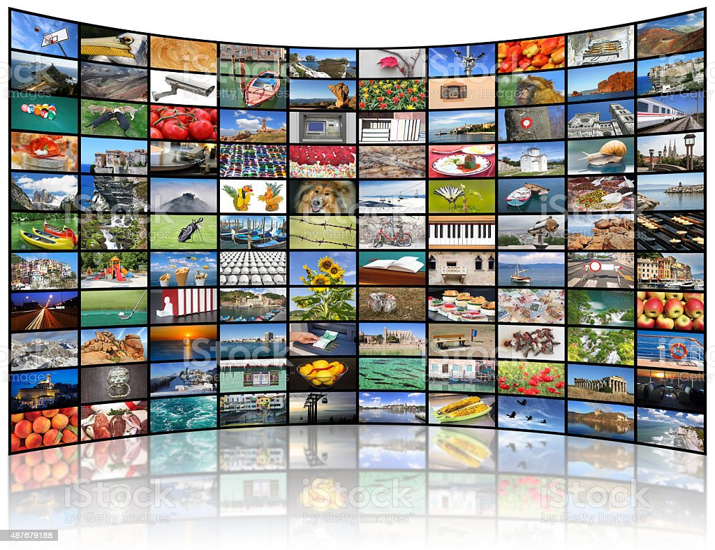 Video wall of TV screen stock photo