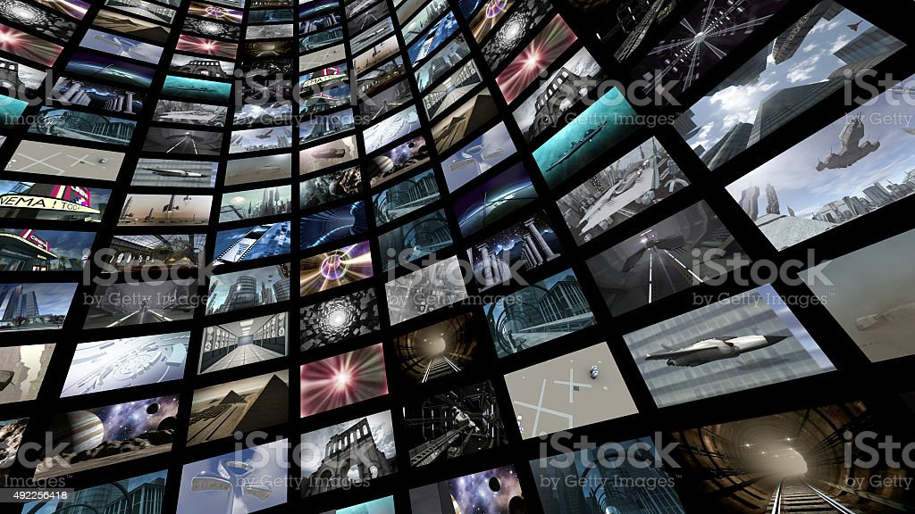Video wall with many screen images stock photo