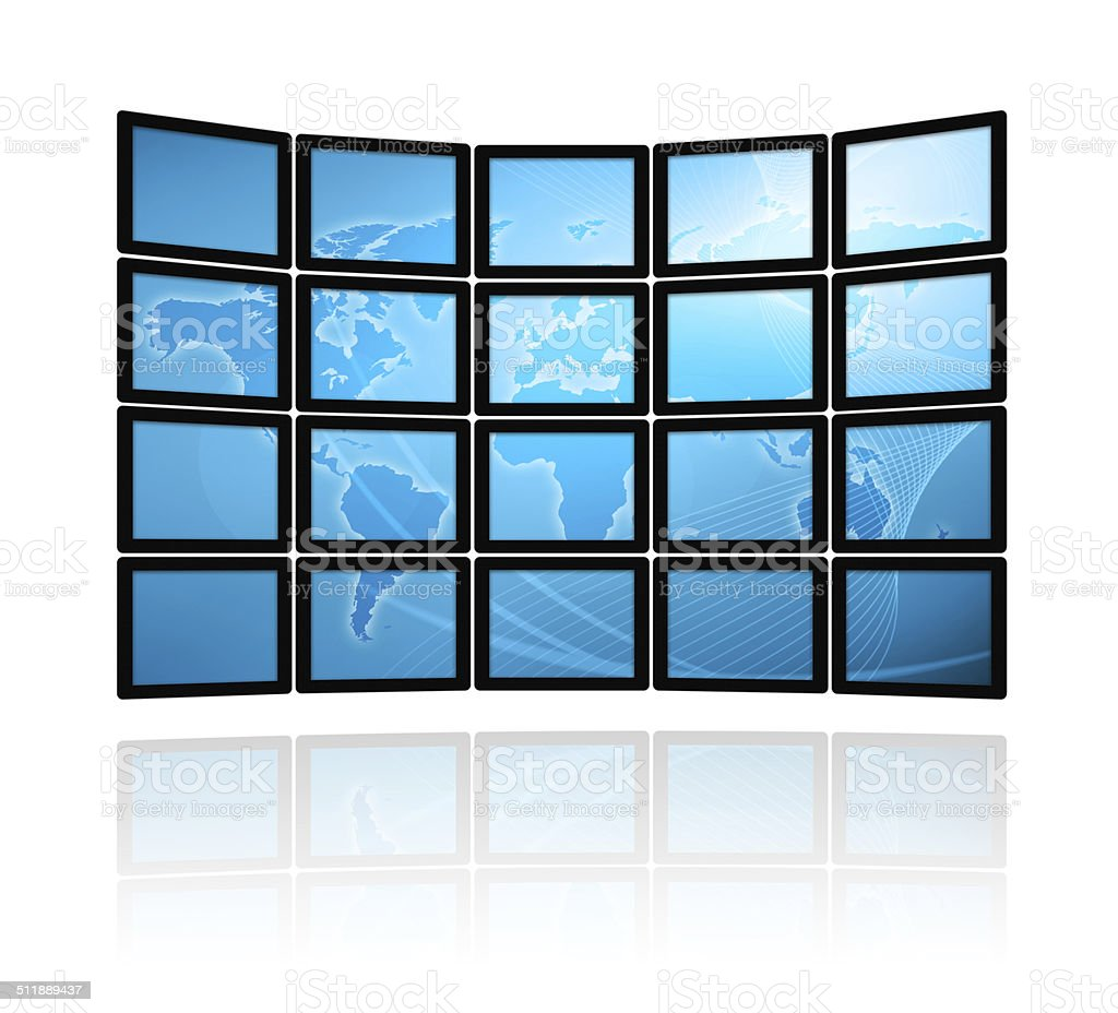 Video wall with world map isolated on white background stock photo