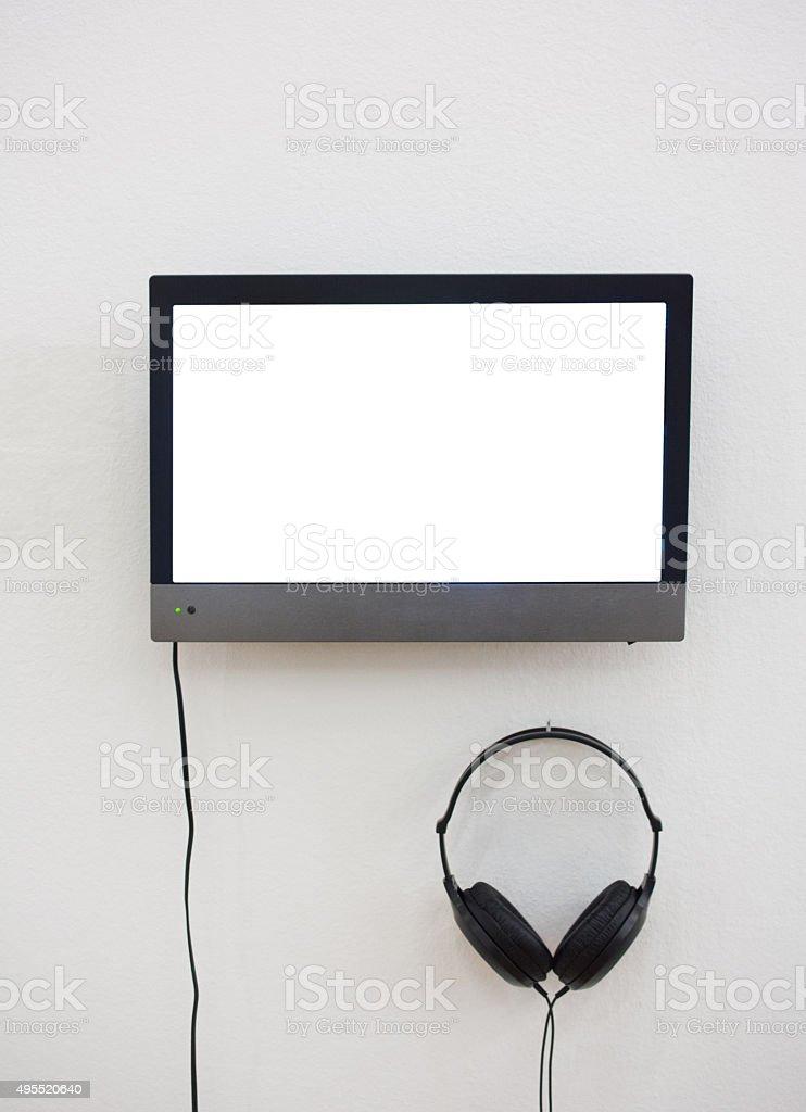 video with headphones stock photo