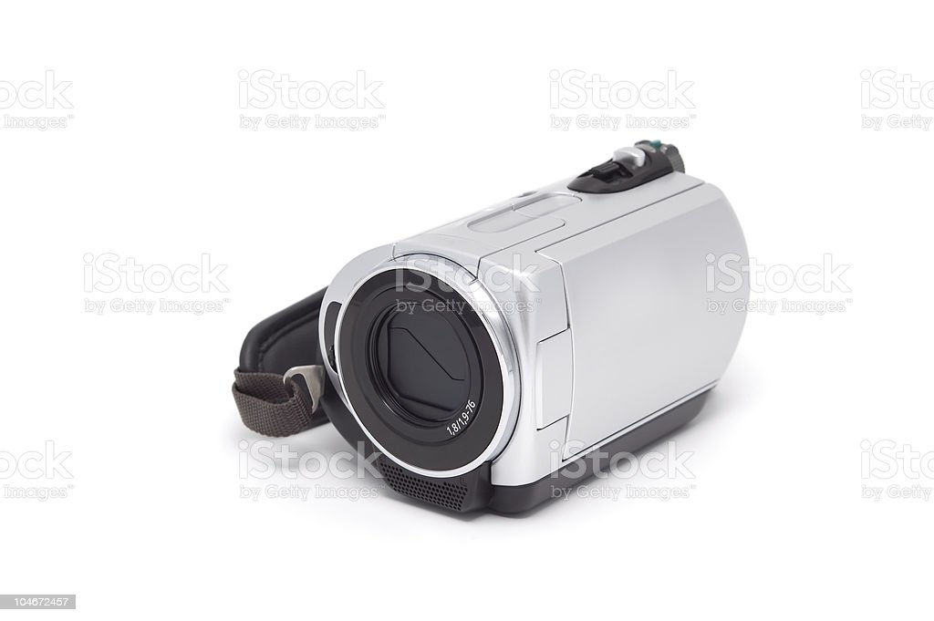 Videocamera isolated on a white background. royalty-free stock photo