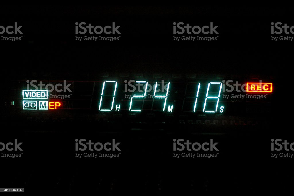 VHS Videocassette Recorder Timecode Displaying Time, Record, EP Speed stock photo