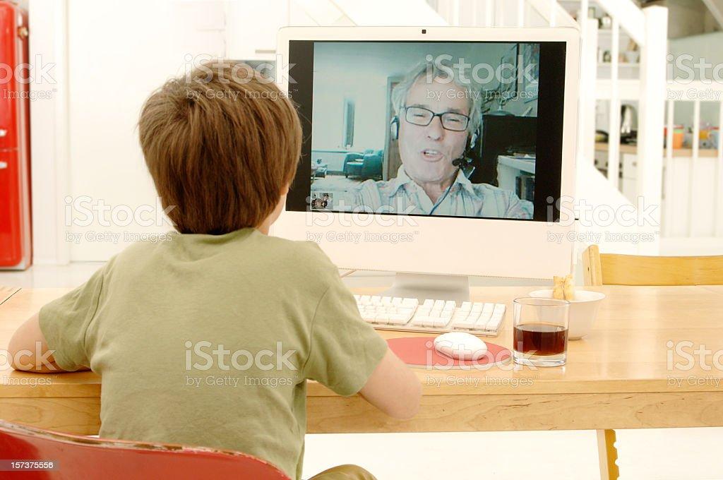 Videochatting with Granddad royalty-free stock photo