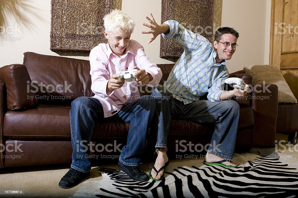 Videogamers-Sibling Rivalry stock photo