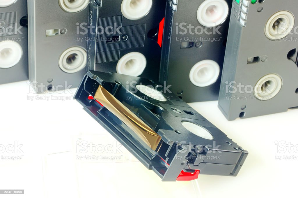 Videotapes on white background stock photo