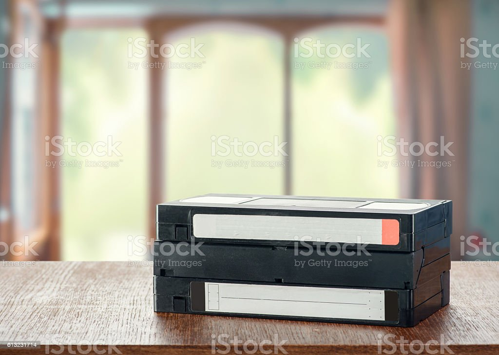 VHS videotapes stock photo