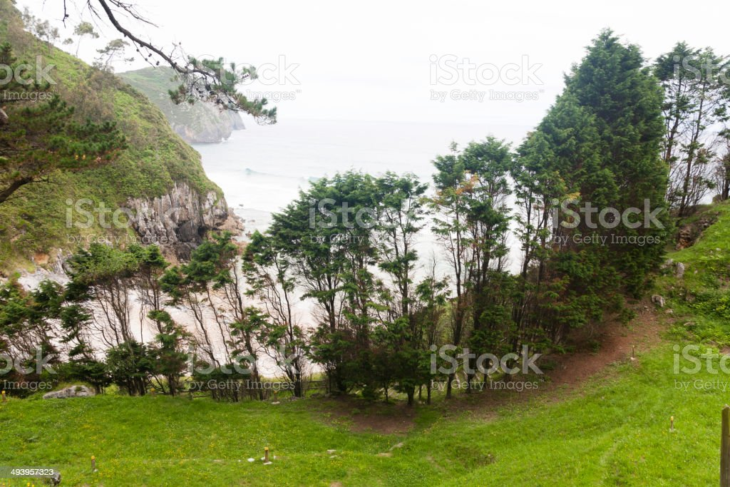 Vidiago Beach, view from above. stock photo
