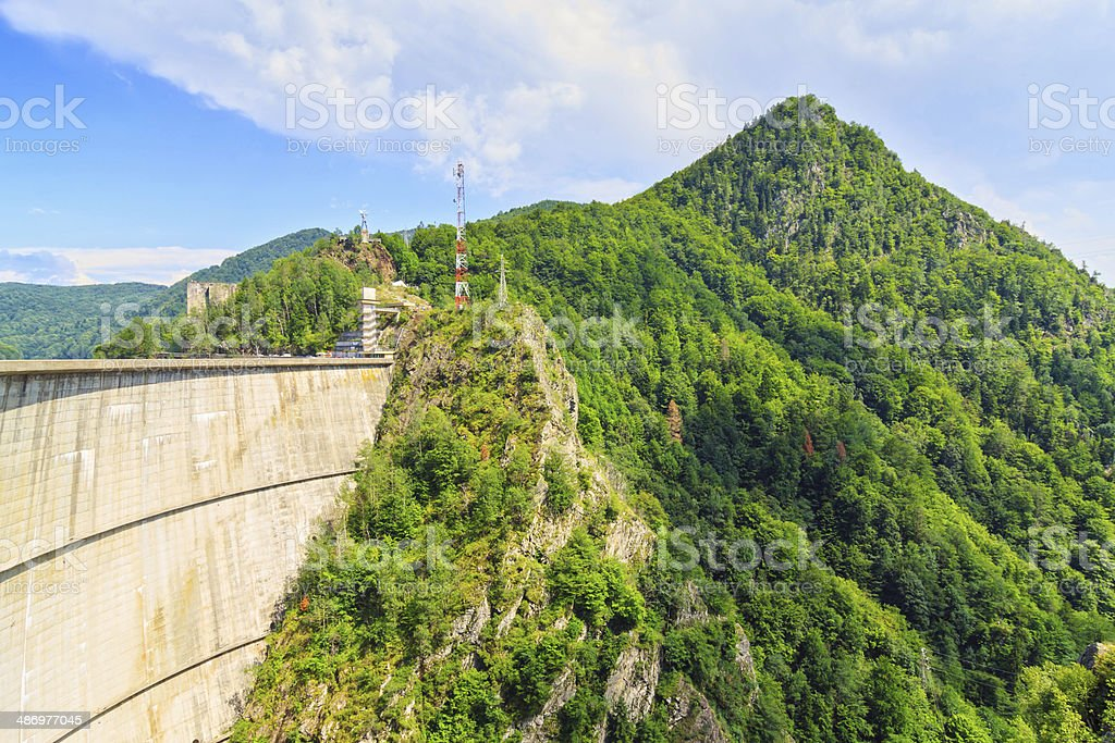 Vidraru dam, Fagaras mountains, Romania stock photo