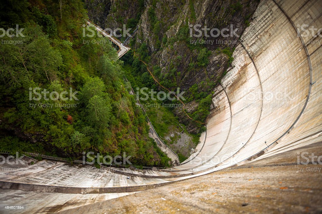 Vidraru Dam heigh seen from the top stock photo