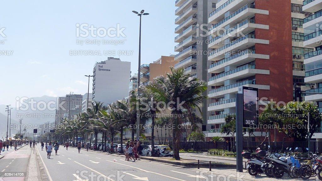 Vieira Souto Avenue and bike lane in Ipanema in Rio stock photo