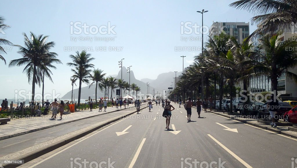 Vieira Souto Avenue and bike lane in Ipanema stock photo