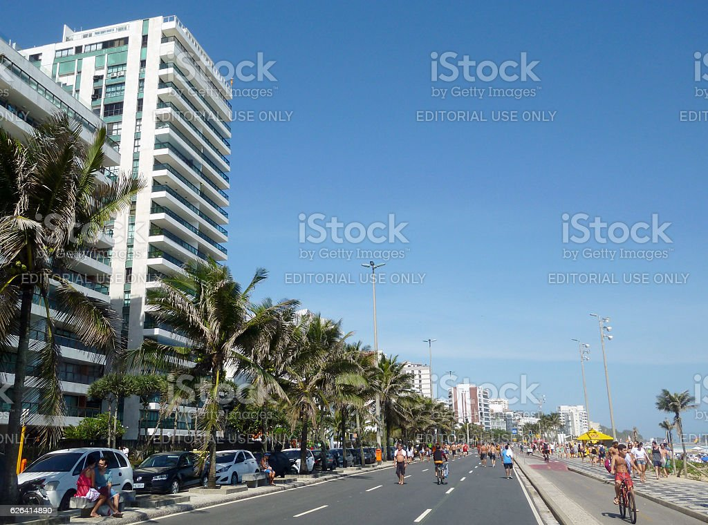 Vieira Souto Avenue in Ipanema Beach in Rio stock photo