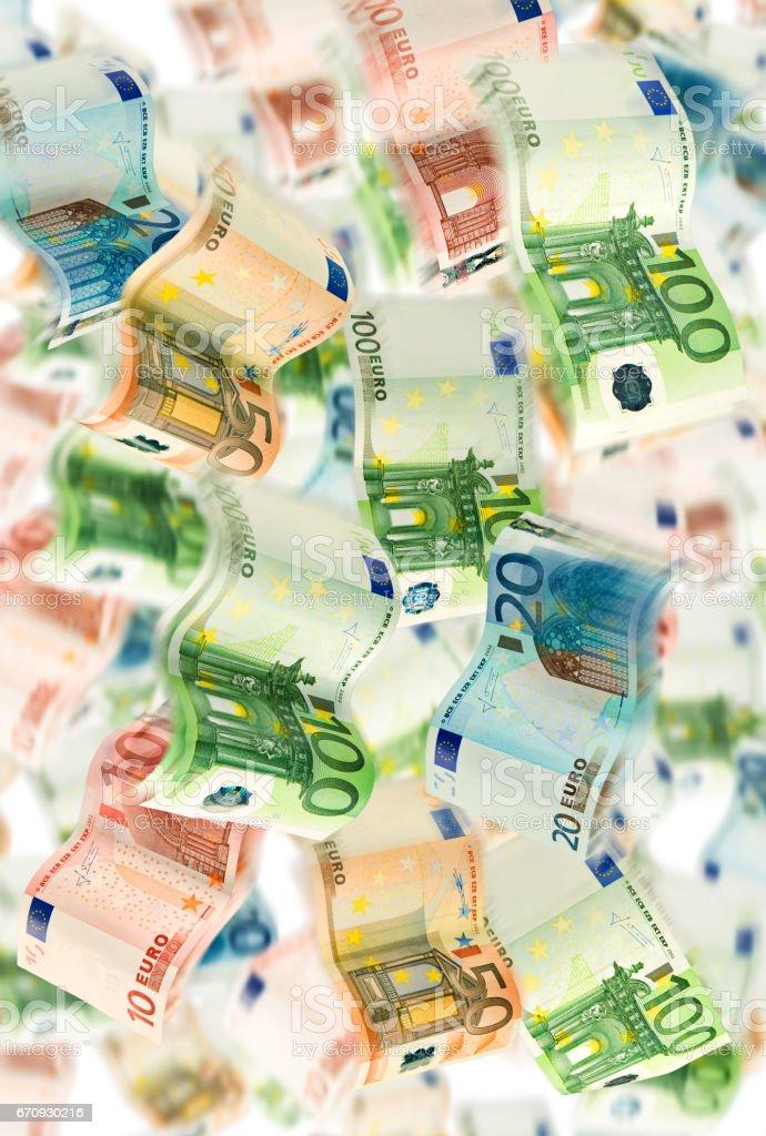 Viele fliegende Euro Geldscheine stock photo