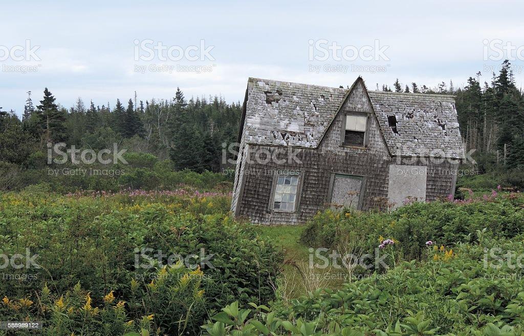 Vielle maison dur l'ile Bonaventure stock photo