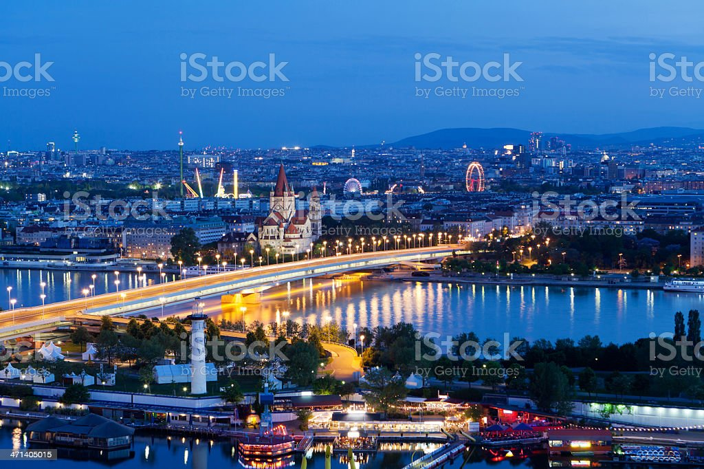 Vienna, aerial view at night stock photo