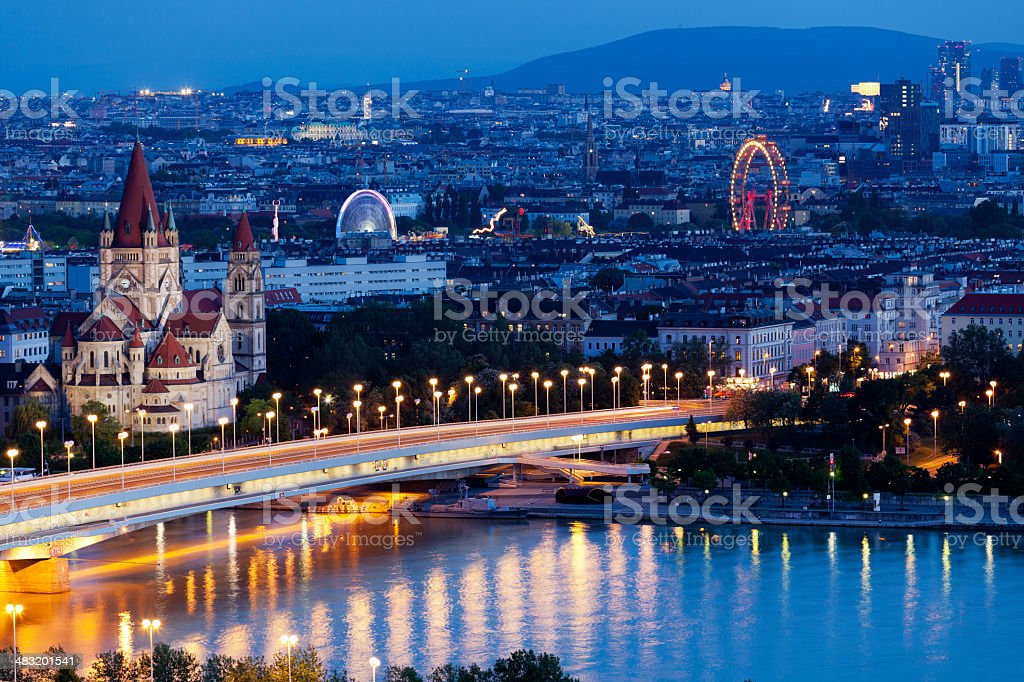 Vienna, aerial view at night royalty-free stock photo