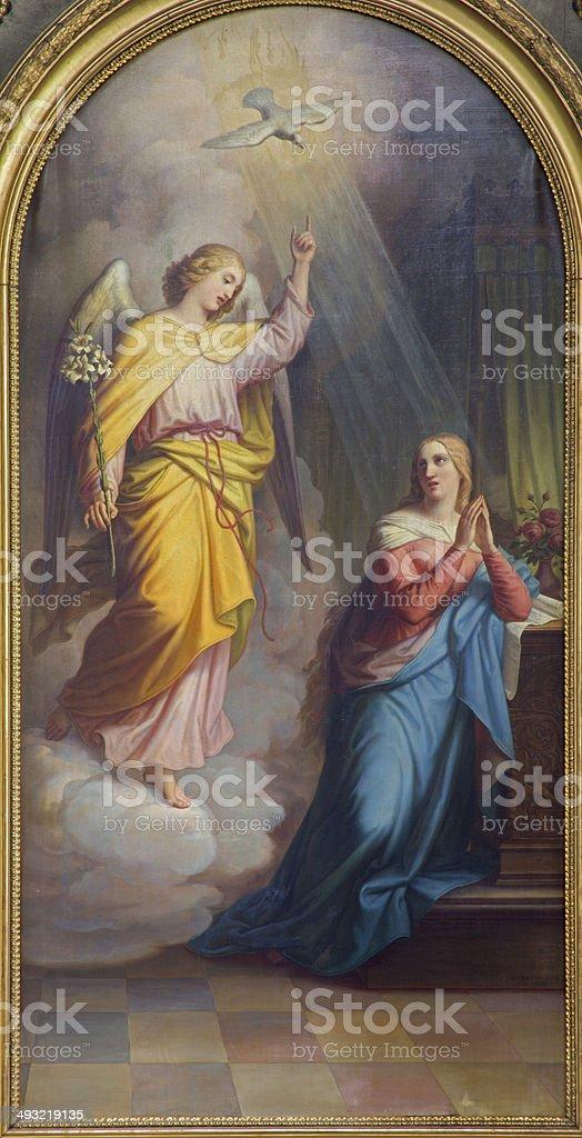 Vienna - Annunciation from main altar of baroque Servitenkirche stock photo