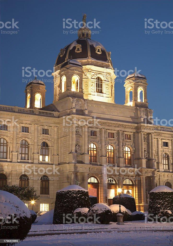 Vienna - Art history museum in winter eveing stock photo