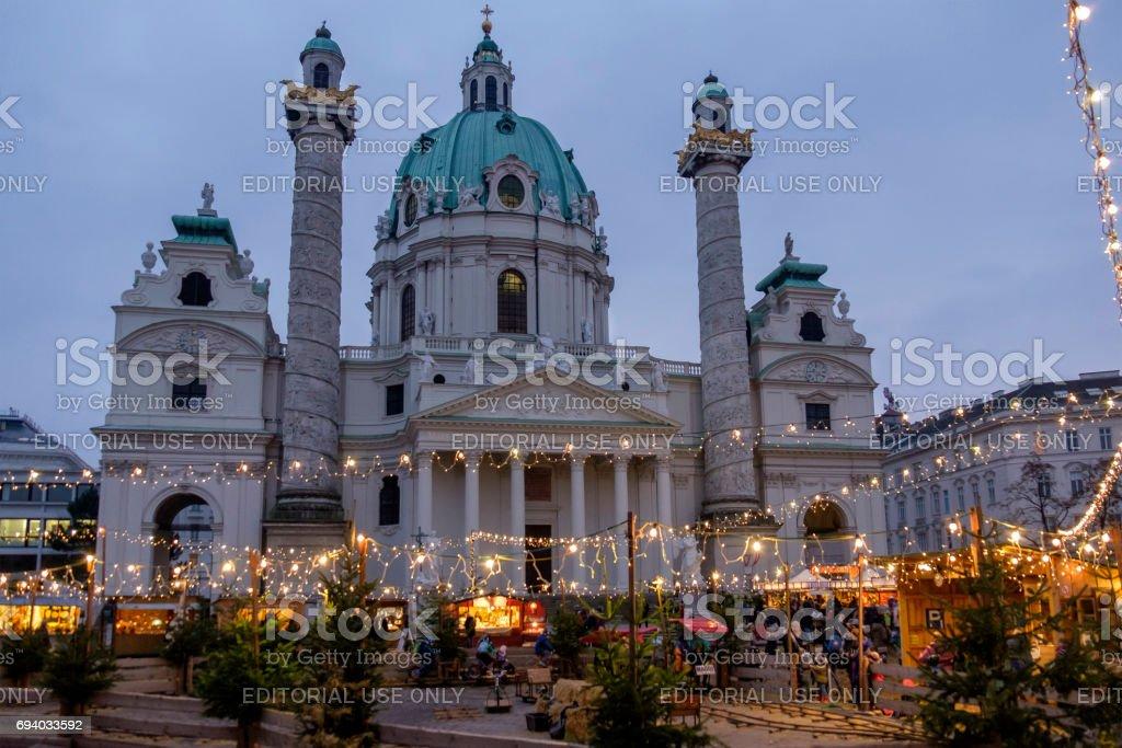 Vienna at Christmas, the Karlsplatz - Austria stock photo