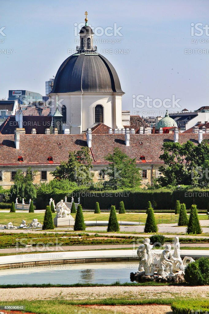 Vienna (Wien), Austria (Osterreich) - June 24, 2017 - Belvedere Gardens with Salesianer church (Salesianerinnenkirche) stock photo