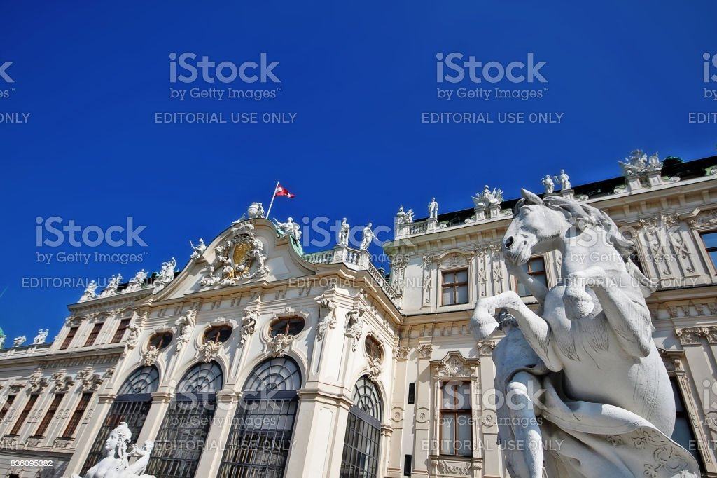 Vienna (Wien), Austria (Osterreich) - June 24, 2017 - Sculpture at facade of Upper Belvedere stock photo