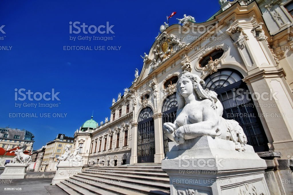 Vienna (Wien), Austria (Osterreich) - June 24, 2017 - Sphinx sculpture at facade of Upper Belvedere stock photo