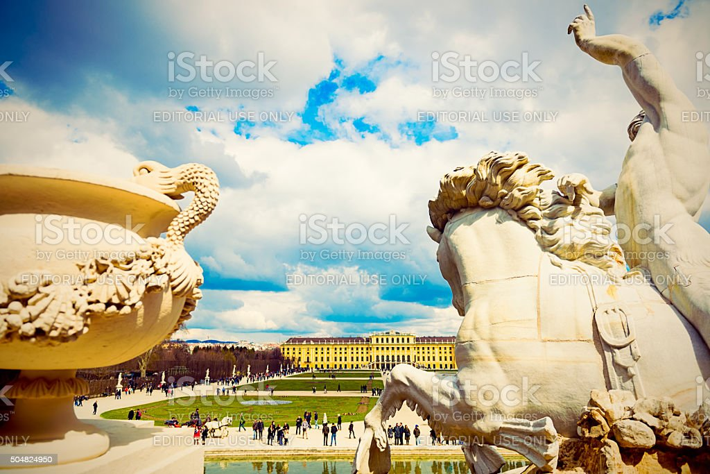 Vienna, Austria. Schonbrunn palace, view from fountain. stock photo