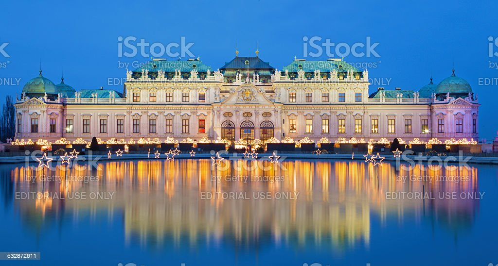 Vienna - Belvedere palace at the christmas market in dusk stock photo