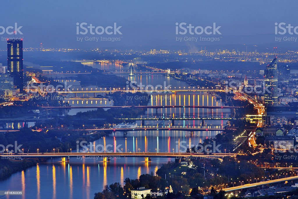 Vienna by night stock photo
