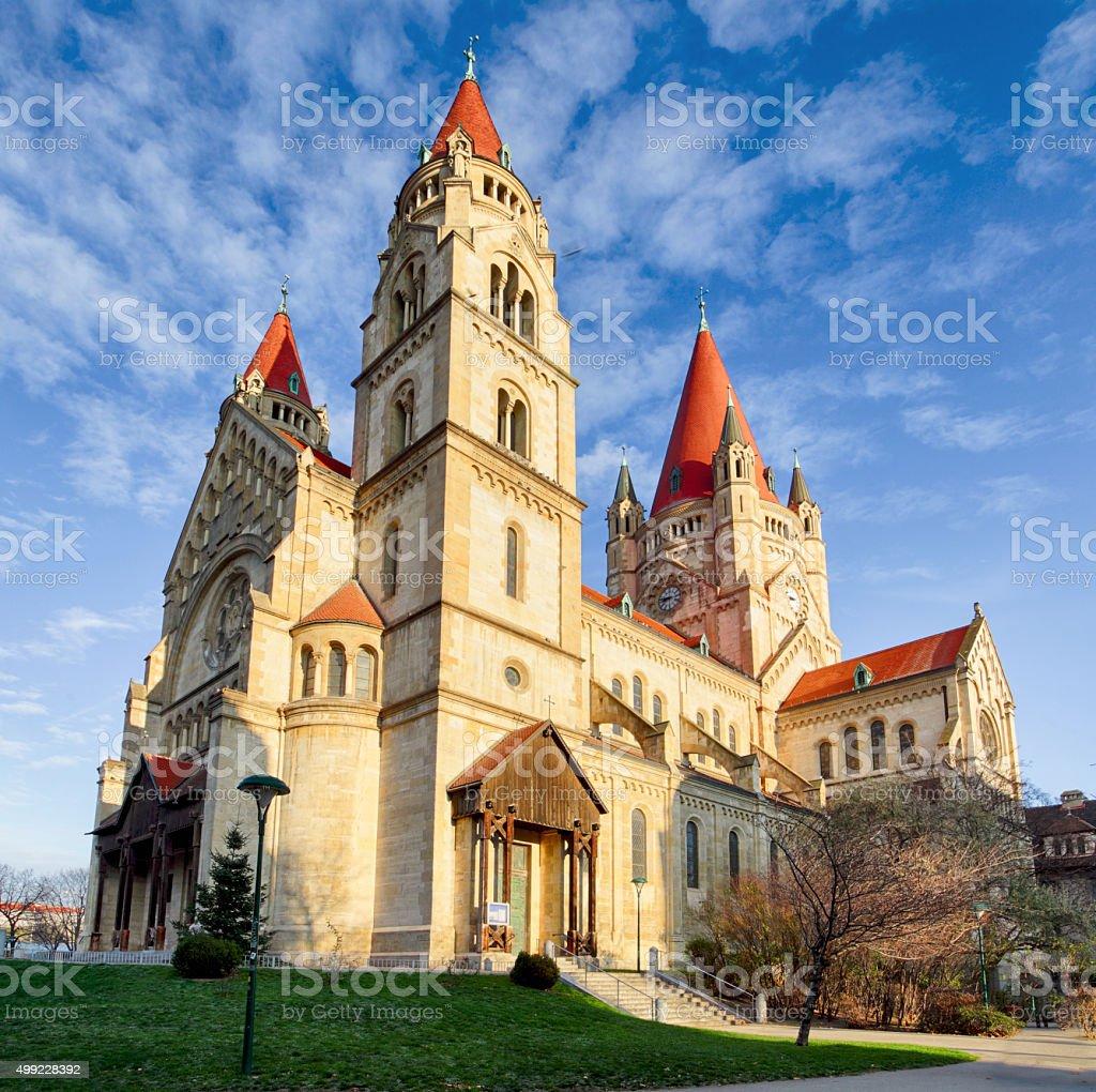 Vienna, Church Heiliger Franz of Assisi at Mexikoplatz, Austria stock photo