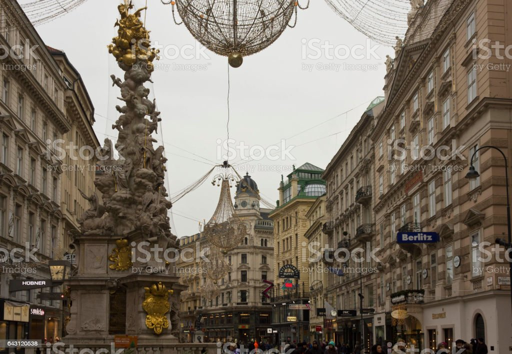 Vienna city centre at day time in winter season stock photo