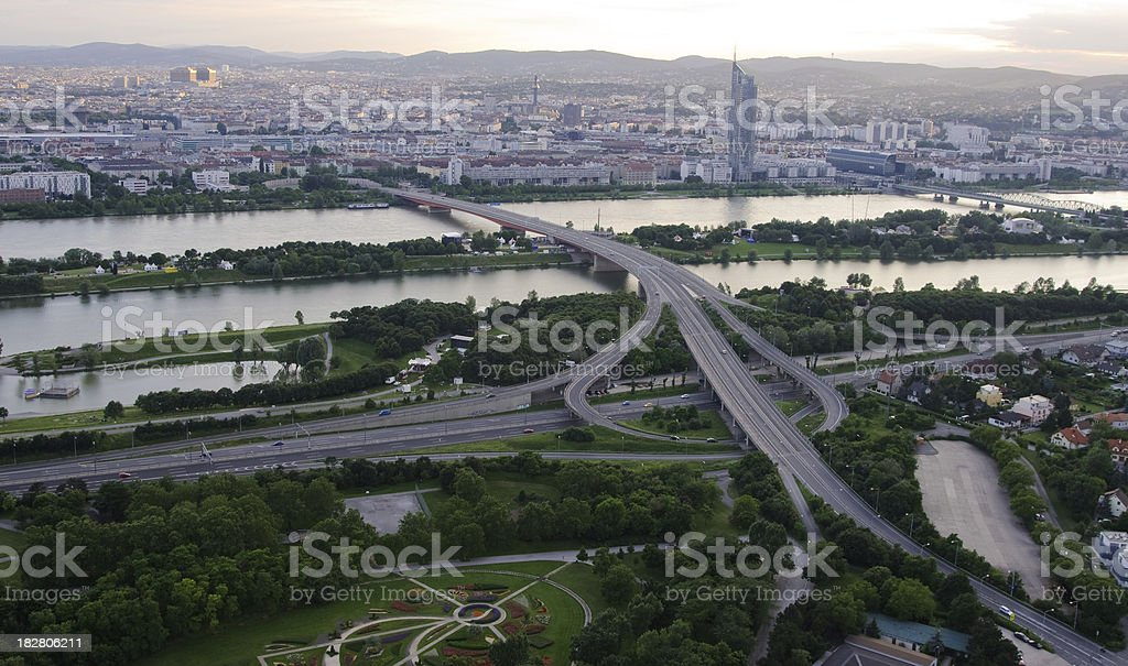 Vienna Cityscape with road intersection in evening light stock photo