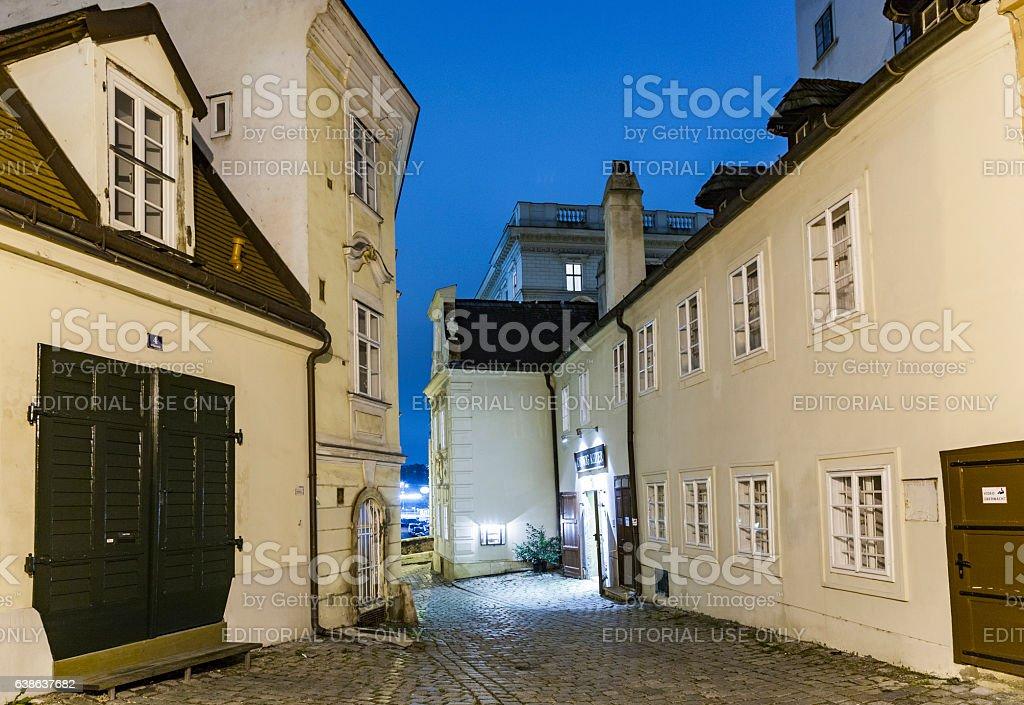 Vienna - famous Moelkersteig street at night stock photo
