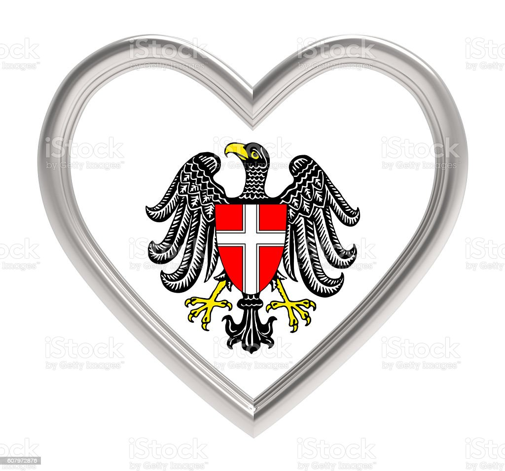 Vienna flag in silver heart isolated on white background. stock photo