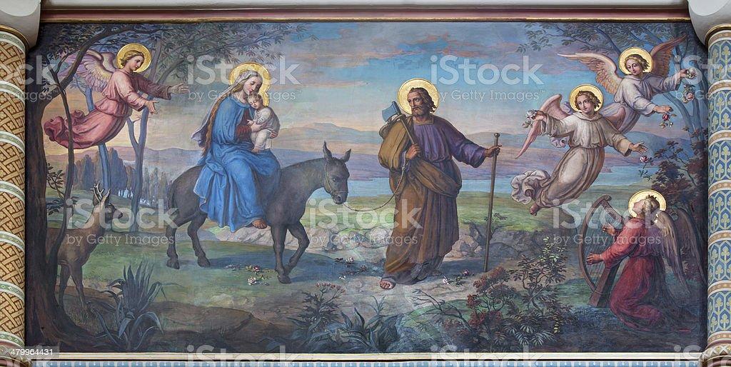 Vienna -  Flight of holy family to Egypt stock photo