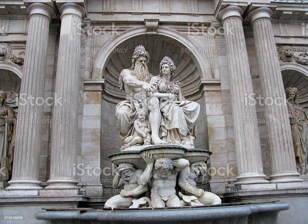 Vienna, fountain Allegory of the Danube stock photo