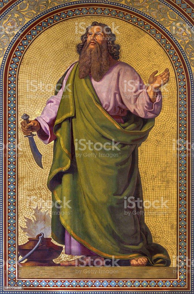 Vienna -  Fresco of Abraham  in Altlerchenfelder church stock photo