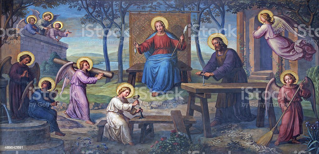 Vienna - Fresco of Holy Family in workroom stock photo