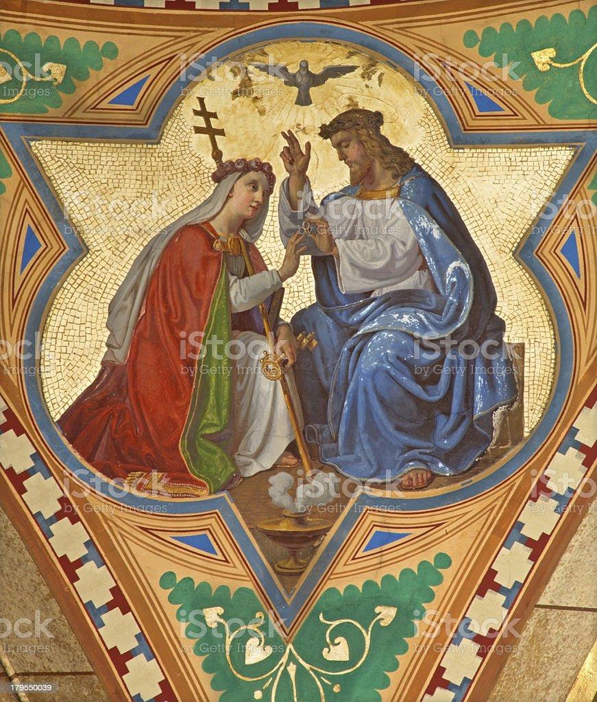Vienna - Fresco of Jesus and symbolic Church royalty-free stock photo