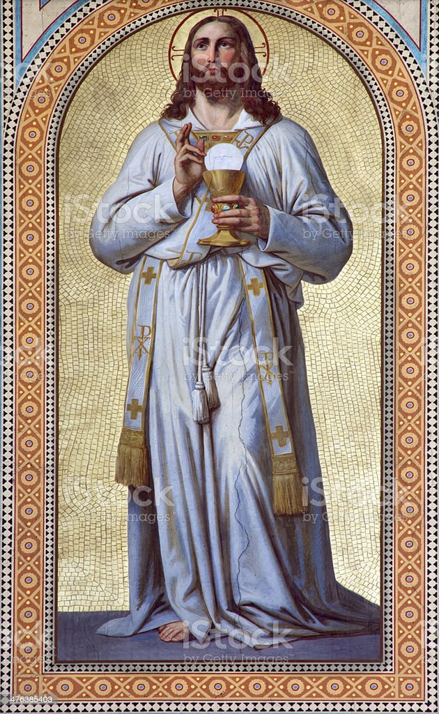 Vienna - Fresco of  Jesus Christ as the Priest royalty-free stock photo