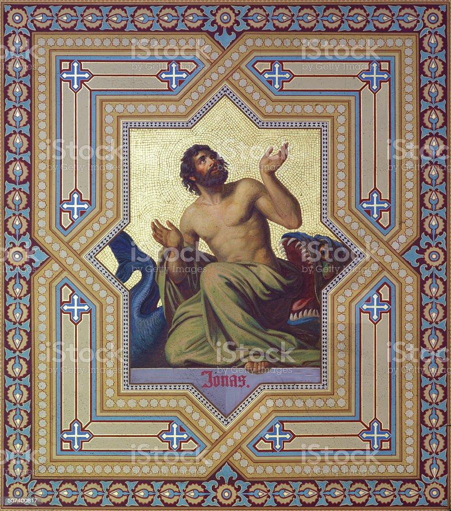 Vienna -  Fresco of prophet Jonah in Altlerchenfelder church stock photo
