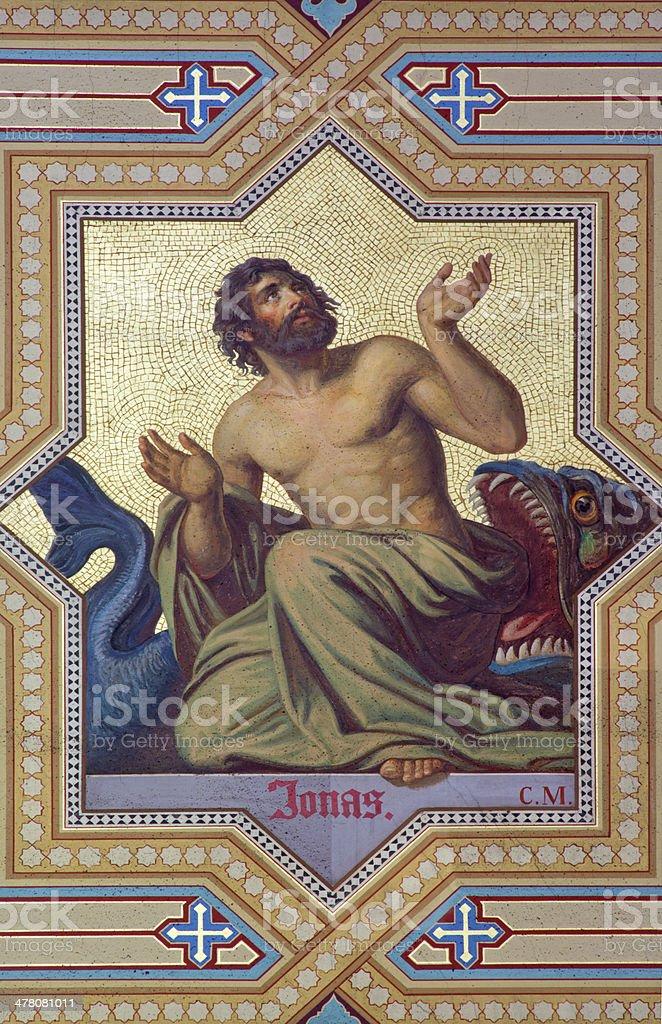Vienna - Fresco of prophet Jonah stock photo