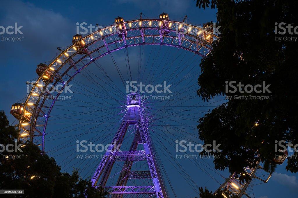 Vienna Giant Wheel At Night stock photo