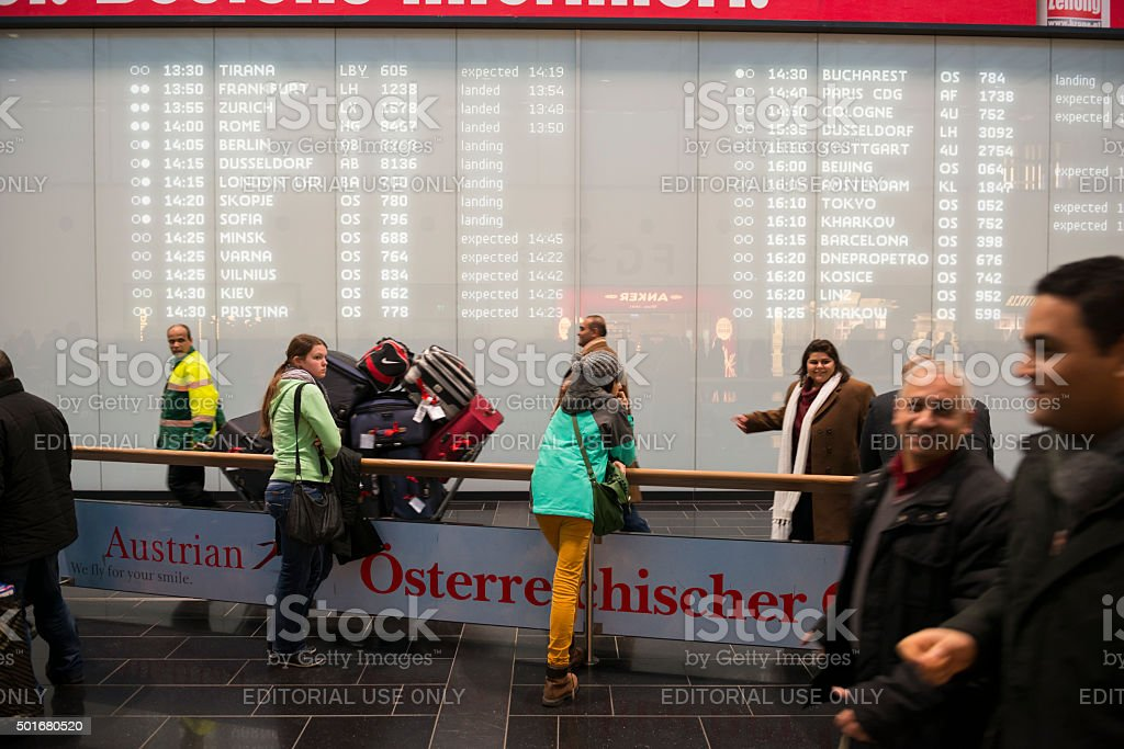 Vienna International Airport arrivals stock photo
