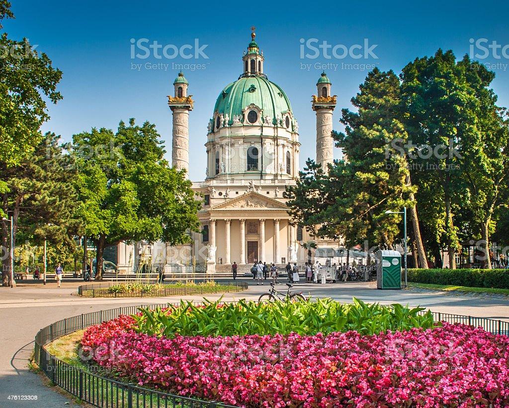 Wiener Karlskirche at Karlsplatz in Vienna, Austria stock photo