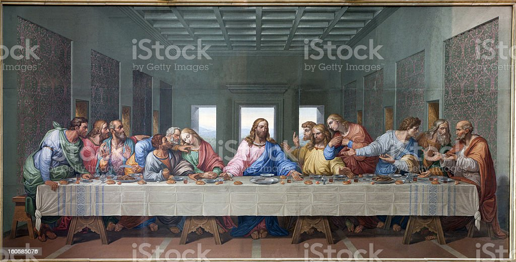 Vienna - Mosaic of Last supper by Giacomo Raffaelli stock photo